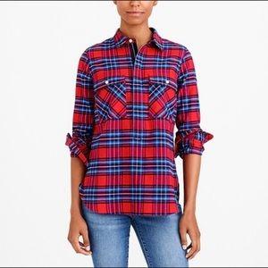 J. Crew Mercantile red zippered flannel Medium
